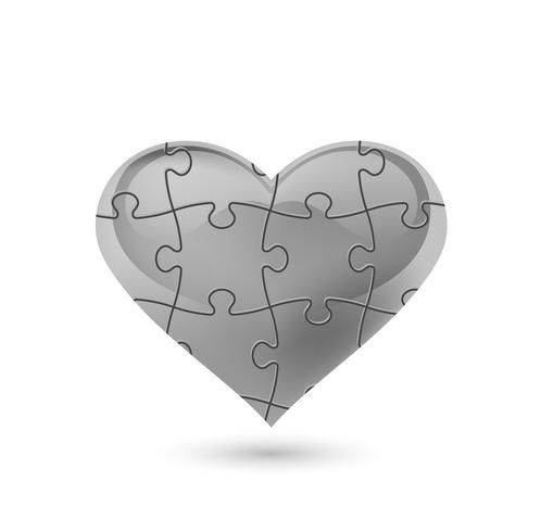Puzzle corazon Ilustración vectorial