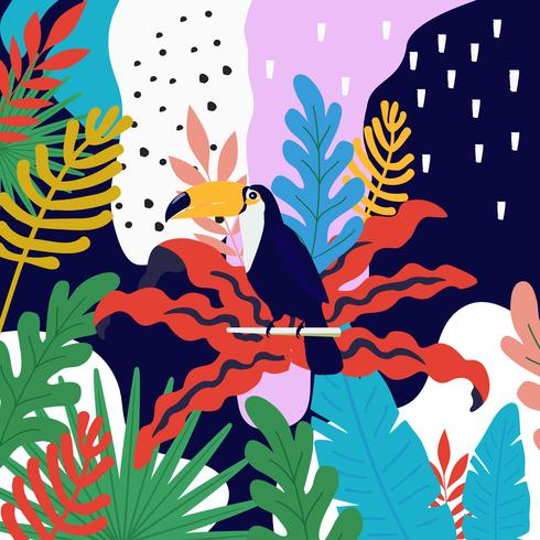 Tropical jungle leaves background with toucan