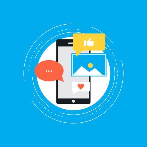 Medios de comunicación social y concepto de redes diseño plano ilustración vectorial