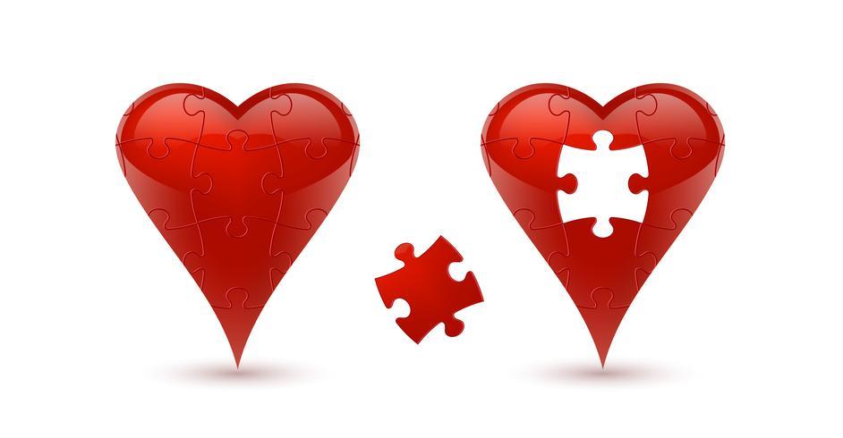 Puzzle corazon Ilustración vectorial vector