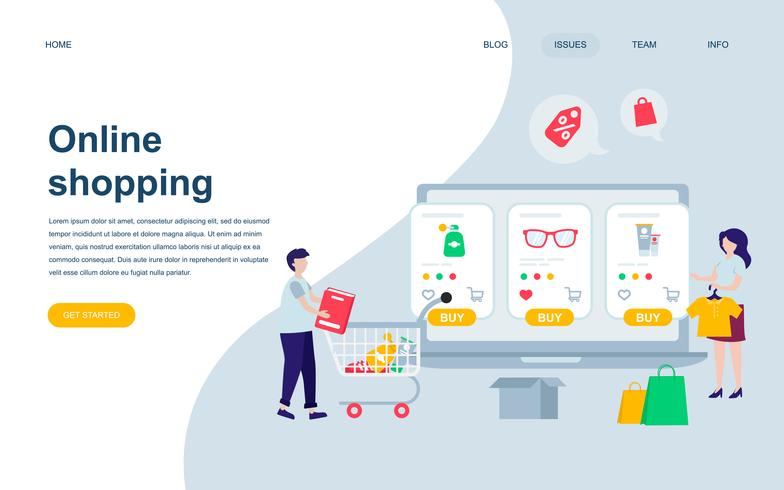 Modern flat web page design template of Online Shopping vector