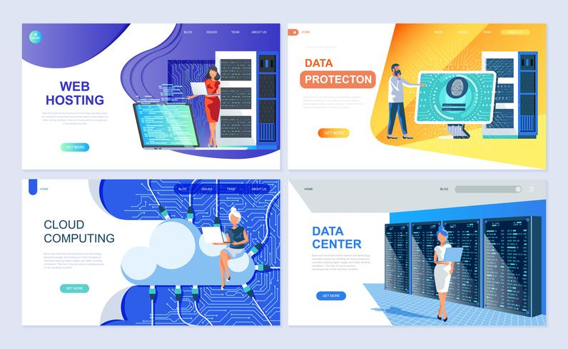 Set of landing page template for Hosting, Data Protection, Data Center, Cloud Computing