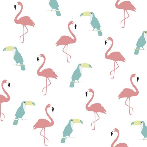 Trendy pastel flamingo and toucan seamless pattern background vector