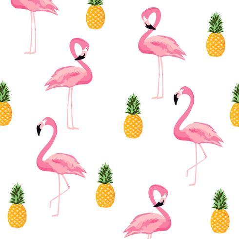 Ananas och flamingo isolerade sömlösa mönster bakgrund vektor