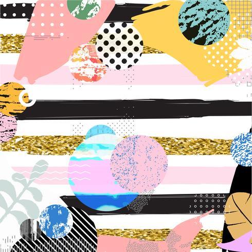 Bunte abstrakte Formen auf gestreifter Hintergrundvektorillustration