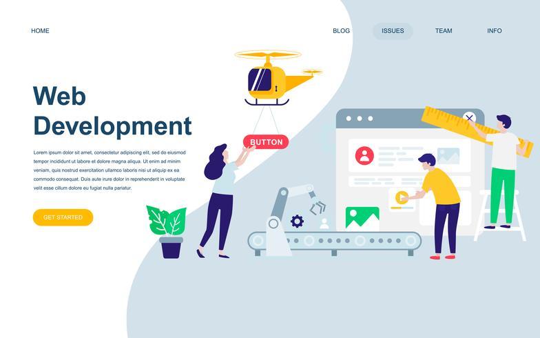 Plantilla de diseño de página web plana moderna de desarrollo web