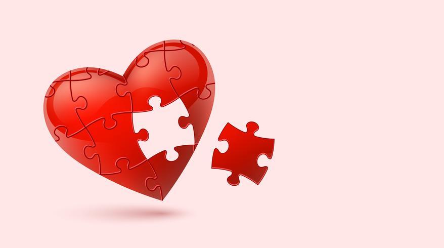 Coração quebra-cabeça. Ilustração vetorial