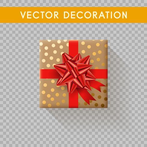 Vista superiore del contenitore di regalo realistico. Scatole regalo senza sfondo Illustrazione vettoriale