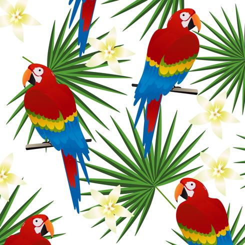 Tropisk sömlös mönster bakgrund med papegojor och tropiska blad vektor