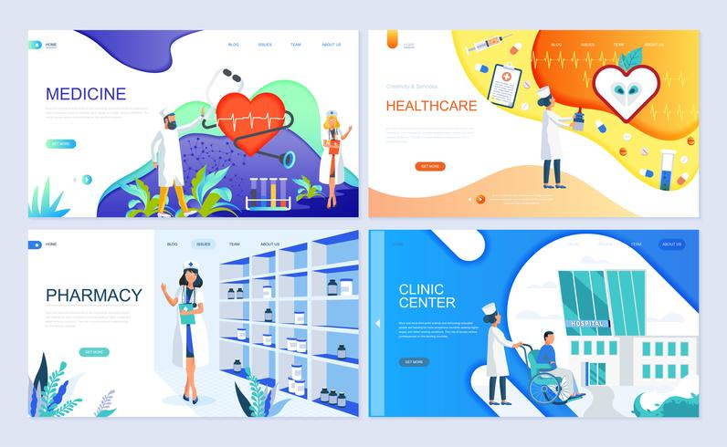 Set von Landing-Page-Vorlage für Medizin, Gesundheitswesen, Apotheke