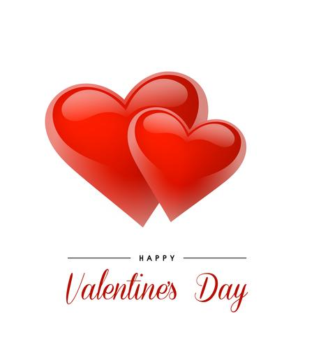 Valentine's Day background with realistic hearts. Vector illustration. Cute love banner or greeting card