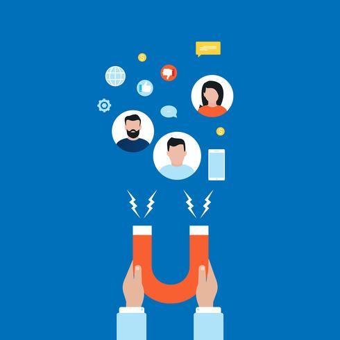 Concepto de mercado objetivo, atraer clientes, diseño de ilustración de vector plano de retención de clientes para banners web y aplicaciones