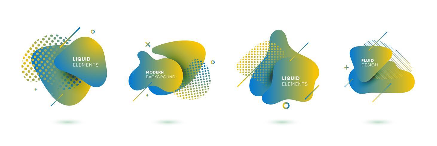 Elementos gráficos coloridos dinâmicos. Bandeiras abstratas do inclinação com formas líquidas de fluxo. Modelo para o design de um logotipo, cartaz ou apresentação. Ilustração vetorial vetor