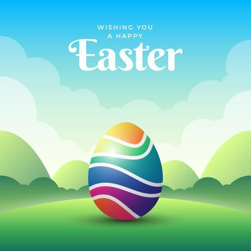 Joyeuses Pâques Design avec Illustration d'oeufs colorés