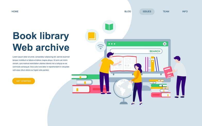 Modèle de conception de page web plat moderne de la bibliothèque de livres
