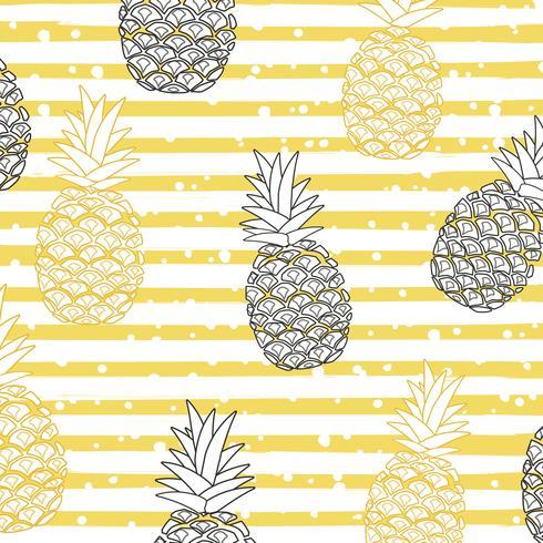 Ananas mit nahtlosem Musterhintergrund der Streifen