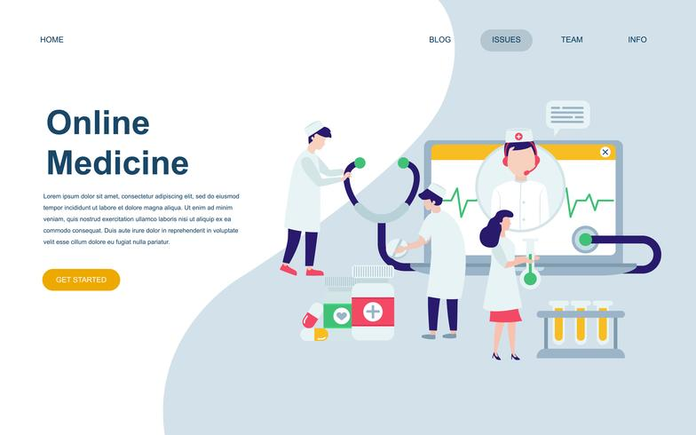 Modèle de conception de page web plat moderne de médecine et de soins de santé