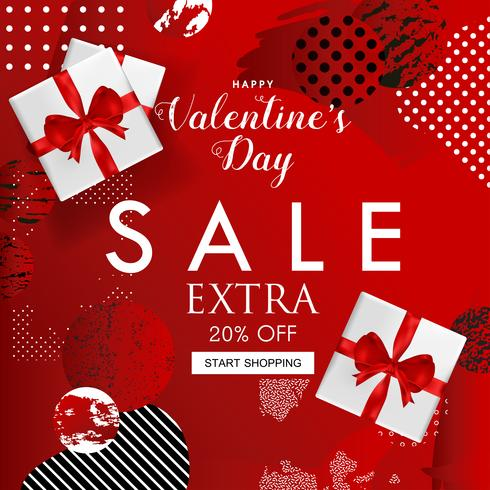 Valentines Day sale website banner vector