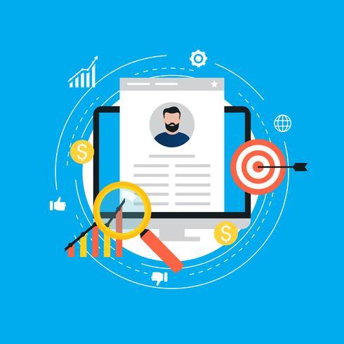 Job recruitment, job candidate evaluation flat vector illustration