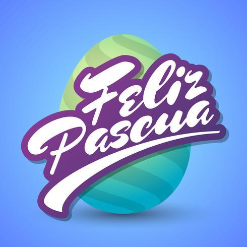 Feliz Pascoa Easter Egg Logotype vector