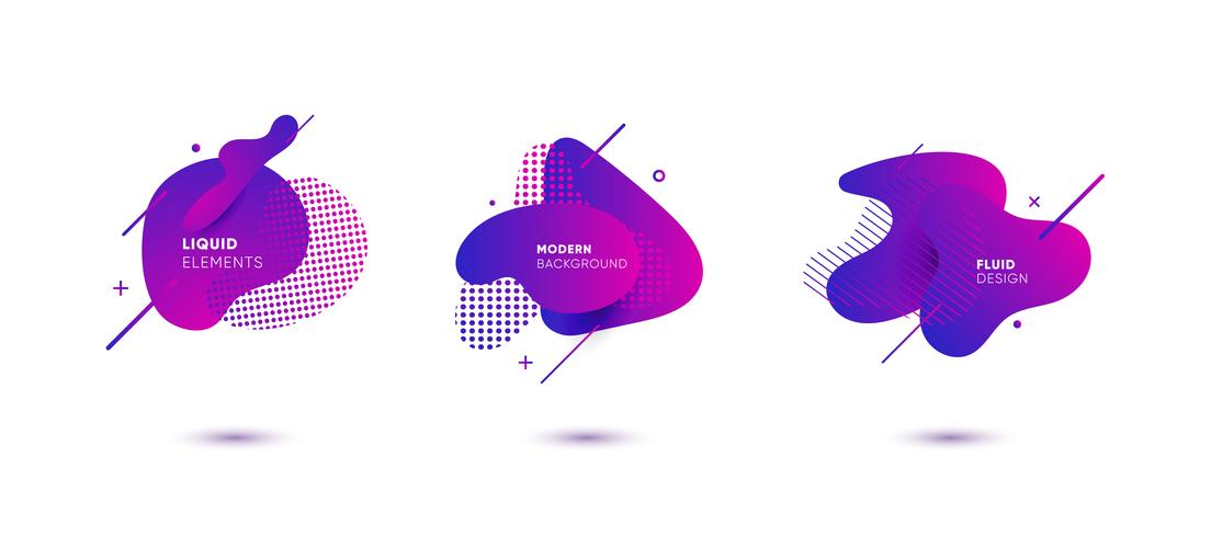 Gradient abstract banners with flowing liquid shapes