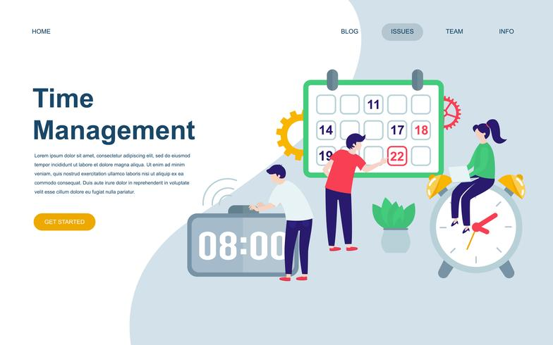 Modern flat web page design template of Time Management