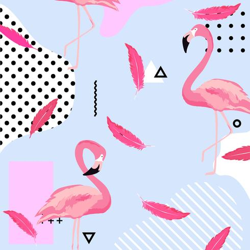 Fondo pastel a la moda con pájaros y plumas de flamenco.