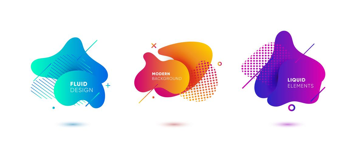 Gradient abstract banners with flowing liquid shapes vector