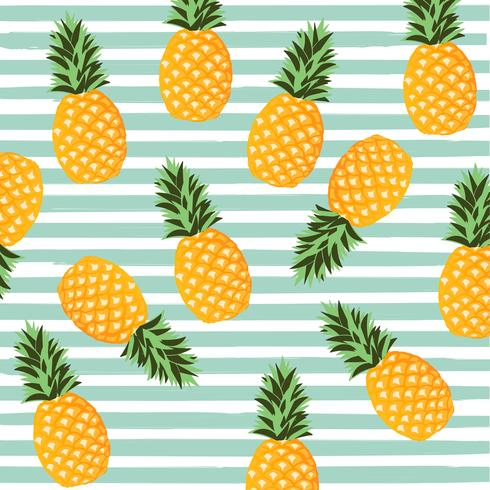 Pineapple with stripes seamless pattern background