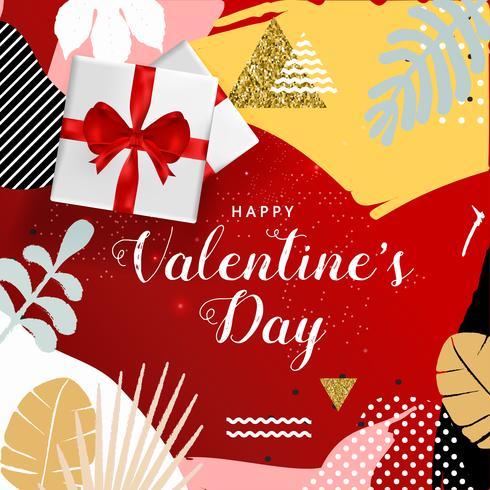 Cartel feliz de la tipografía del día de tarjetas del día de San Valentín, diseño romántico del ejemplo del vector de la tarjeta de felicitación