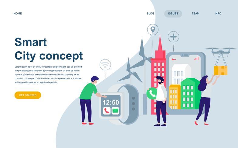 Modern flat web page design template of Smart City Technology
