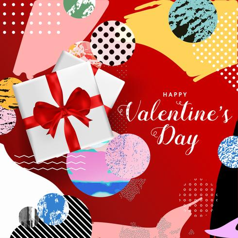 Happy Valentines Day typography poster, romantic greeting card vector illustration design