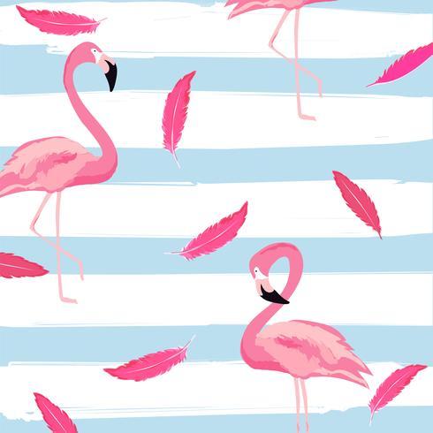 Flamingo en roze veren met achtergrond van het strepen de naadloze patroon vector
