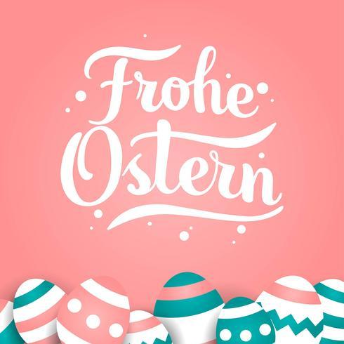 Hand letters van Frohe Ostern typografie