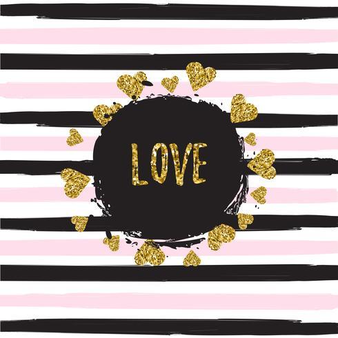 Padrão de corações brilhantes ouro sobre fundo listrado com ilustração em vetor banner amor