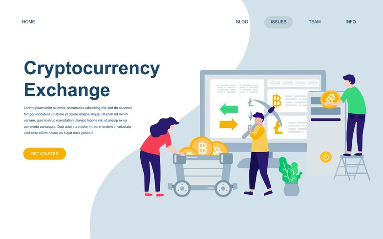 Moderne flache Webseiten-Designvorlage von Cryptocurrency Exchange