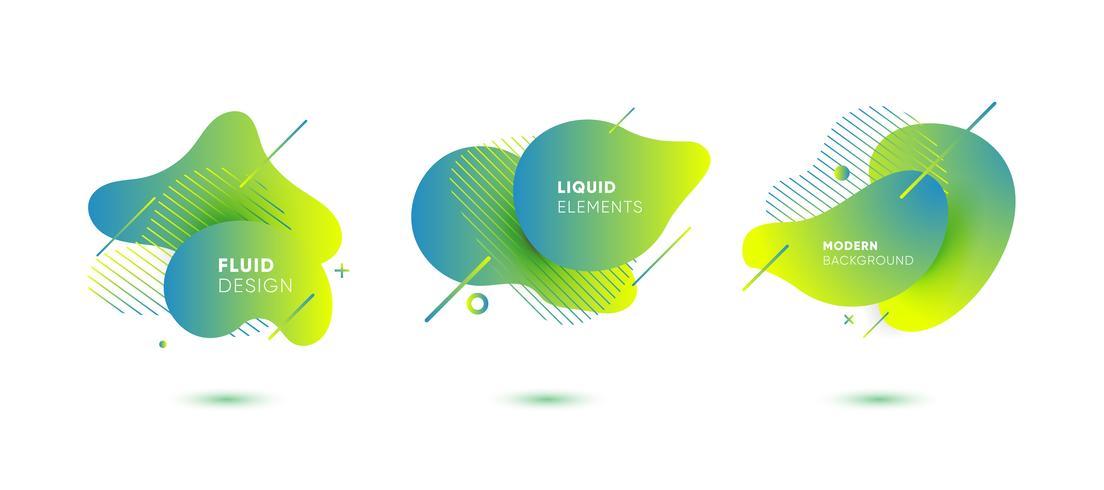 Dynamische farbige grafische Elemente. Abstrakte Fahnen der Steigung mit flüssigen flüssigen Formen. Vorlage für die Gestaltung eines Logos, eines Posters oder einer Präsentation. Vektor-Illustration