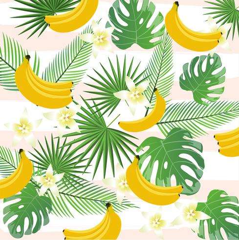 Tropical background with bananas, palm leaves and monstera