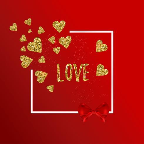 Guldglittrande hjärtan mönster på röd bakgrund