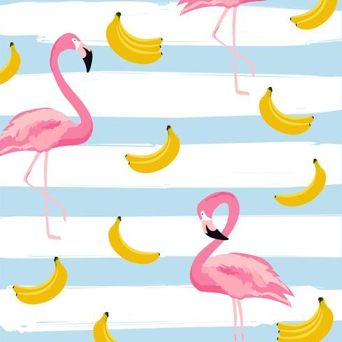 Flamingo och bananer med ränder sömlös mönster bakgrund. Tropisk affischdesign