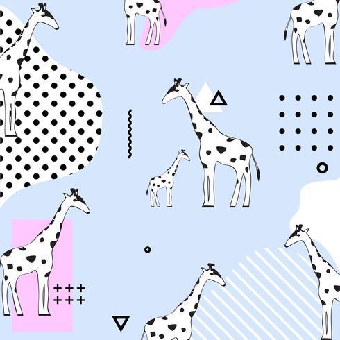 Fondo senza cuciture del modello della giraffa di pasel d'avanguardia. Disegno geometrico dell'illustrazione di vettore con le giraffe. Carta da parati, tessuto, tessuto, design di carta da imballaggio