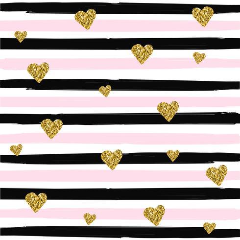 Gold glittering heart seamless pattern on striped background vector illustration