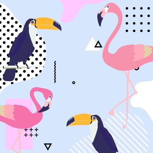 Trendig pastellbakgrund med flamingo och toucan