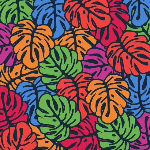 O monstera colorido deixa o fundo sem emenda do teste padrão. Design de cartaz tropical