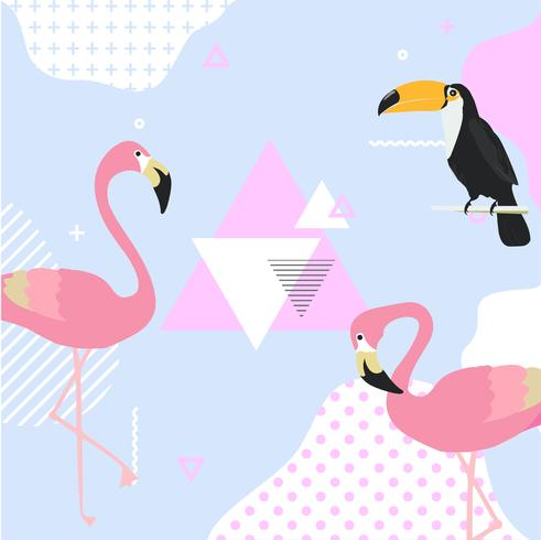 Fundo pastel na moda com flamingo e tucano vetor