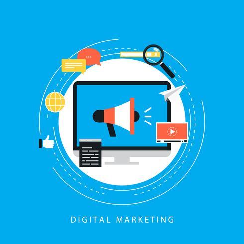 Campagne de marketing numérique, promotion en ligne, marketing vidéo, illustration vectorielle plat de publicité sur Internet