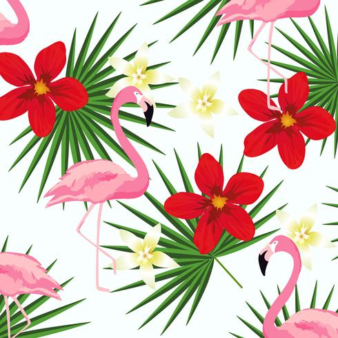 Flamingo and tropic leaves on stripes seamless pattern background