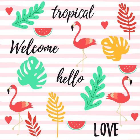 Tropisk bakgrund med flamingos, vattenmelon och tropiska djungelbladen