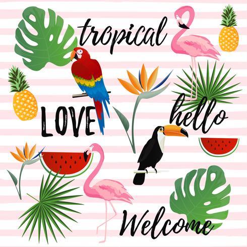 Tropische naadloze patroonachtergrond. Tropisch posterontwerp vector