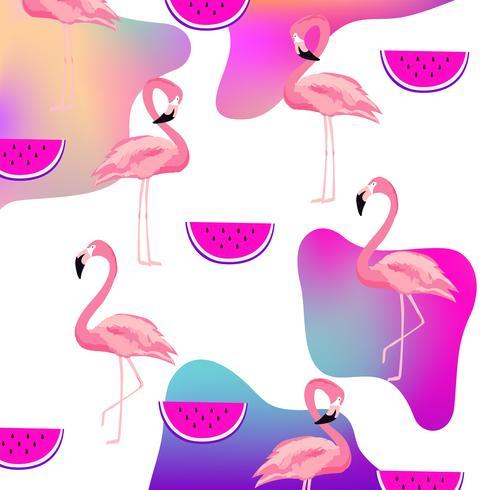 Flamingo fluida na moda e melancia sem costura de fundo